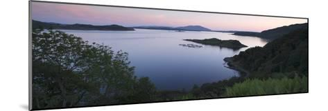 View over Seil Sound to a Salmon Farm and Luing, Slate Islands, Argyll and Bute, Scotland-Peter Thompson-Mounted Giclee Print