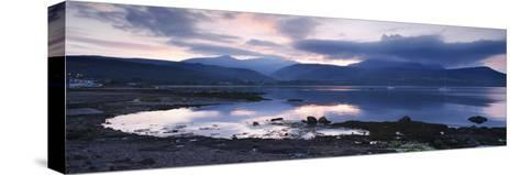 View across Brodick Bay to Beinn Tarsuinn and Goatfell at Sunset, Arran, North Ayrshire, Scotland-Peter Thompson-Stretched Canvas Print