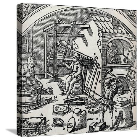 A Silver Refinery, 1556, (1917)--Stretched Canvas Print