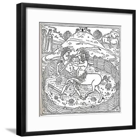 Theseus and the Centaur, Plutarch: Vitae Parallelae, 1491, (1917)--Framed Art Print