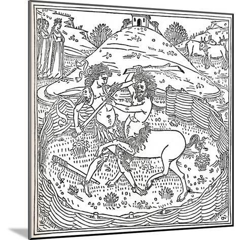 Theseus and the Centaur, Plutarch: Vitae Parallelae, 1491, (1917)--Mounted Giclee Print