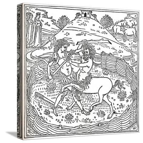 Theseus and the Centaur, Plutarch: Vitae Parallelae, 1491, (1917)--Stretched Canvas Print
