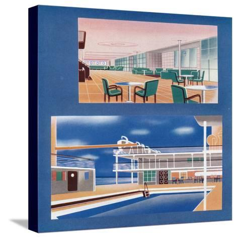 The Tourist Lounge and Swimming Bath of the Rms Orion, 1935--Stretched Canvas Print