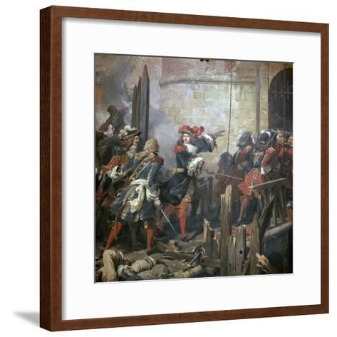Louis XIV Leads the Assault of Valenciennes, 17th Century-Jean Alaux-Framed Art Print