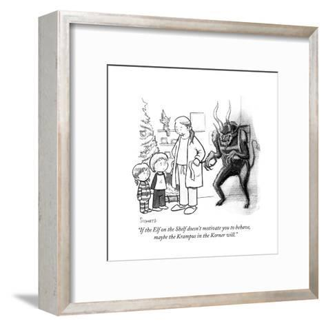 """""""If the Elf on the Shelf doesn't motivate you to behave, maybe the Krampus?"""" - Cartoon-Benjamin Schwartz-Framed Art Print"""