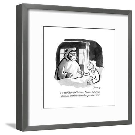 """I'm the Ghost of Christmas Future, but it's an alternate timeline where t?"" - Cartoon-Benjamin Schwartz-Framed Art Print"