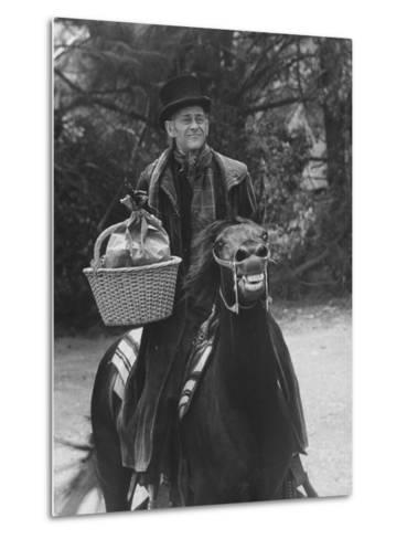 """Scene from """"Trail to Christmas"""" Adaptation of Charles Dicken's """"Christmas Carol"""" GE Show-Allan Grant-Metal Print"""