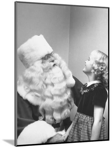 Santa Claus and 5 Year Old Demonstrating Right Way to Hold Child-Martha Holmes-Mounted Photographic Print