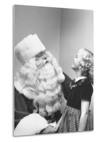 Santa Claus and 5 Year Old Demonstrating Right Way to Hold Child-Martha Holmes-Metal Print