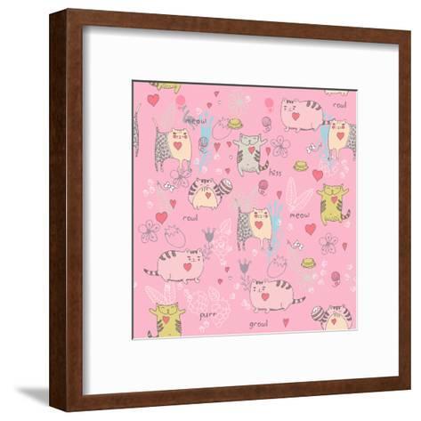 Cats Seamless Pattern in Doodle Style. Cat and Kitten-Tatsiana Tsyhanova-Framed Art Print