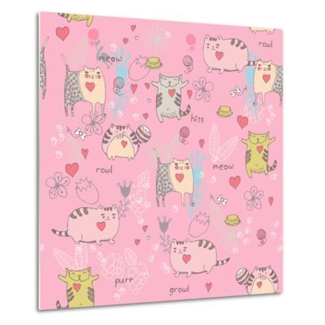 Cats Seamless Pattern in Doodle Style. Cat and Kitten-Tatsiana Tsyhanova-Metal Print
