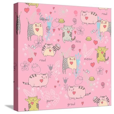 Cats Seamless Pattern in Doodle Style. Cat and Kitten-Tatsiana Tsyhanova-Stretched Canvas Print