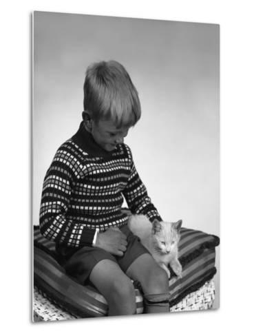 Child with a Cat, 1963-Michael Walters-Metal Print