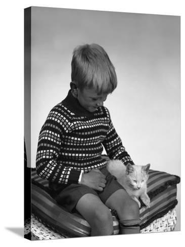 Child with a Cat, 1963-Michael Walters-Stretched Canvas Print