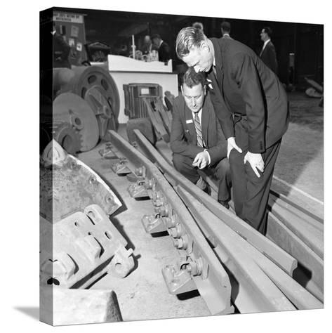 Inspecting a Tram Junction Made at the Edgar Allen Steel Foundry, Meadowhall, Sheffield, 1962-Michael Walters-Stretched Canvas Print