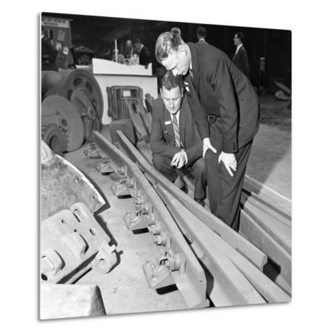 Inspecting a Tram Junction Made at the Edgar Allen Steel Foundry, Meadowhall, Sheffield, 1962-Michael Walters-Metal Print