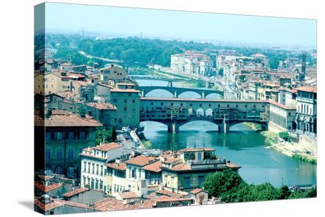 River Arno and Ponte Vecchio from Piazzale Michelangelo, Florence, Italy-Peter Thompson-Stretched Canvas Print