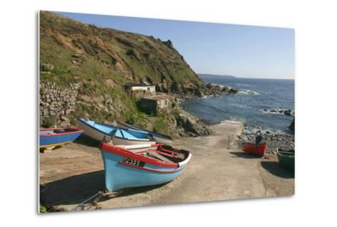 Boats on the Slipway at Cape Cornwall, Cornwall-Peter Thompson-Metal Print