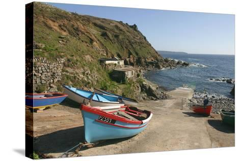 Boats on the Slipway at Cape Cornwall, Cornwall-Peter Thompson-Stretched Canvas Print