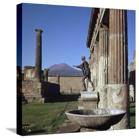 Bronze Statue at Temple of Apollo in Pompeii, 1st Century-CM Dixon-Stretched Canvas Print