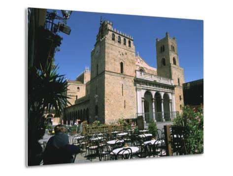 Cathedral and Cafe, Monreale, Sicily, Italy-Peter Thompson-Metal Print