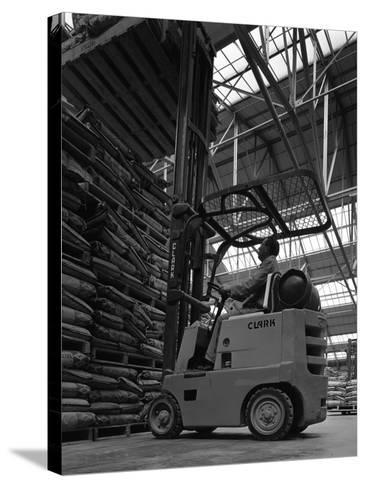 A Clark Forklift Truck, Spillers Animal Foods, Gainsborough, Lincolnshire, 1962-Michael Walters-Stretched Canvas Print
