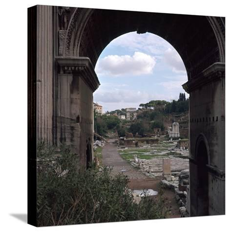 The Roman Forum and Arch of Septimus Severus, 3rd Century-CM Dixon-Stretched Canvas Print