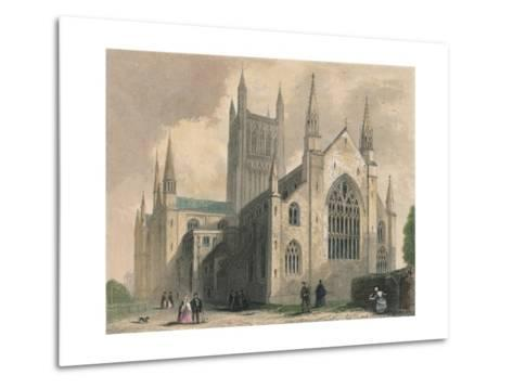 Worcester Cathedral, North West View, 1836-Henry Winkles-Metal Print