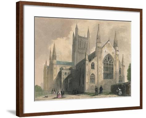 Worcester Cathedral, North West View, 1836-Henry Winkles-Framed Art Print