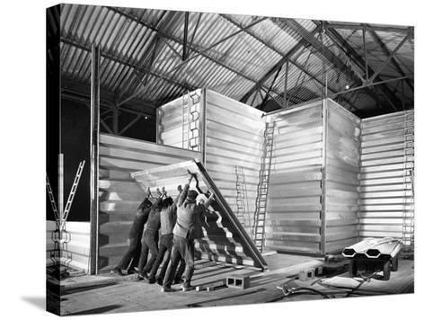 Constructing a New Grain Silo in Navenby, Lincolnshire, 1962-Michael Walters-Stretched Canvas Print