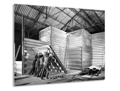 Constructing a New Grain Silo in Navenby, Lincolnshire, 1962-Michael Walters-Metal Print