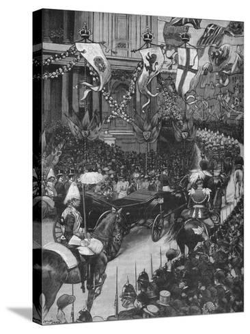 Marriage of the Duke of York: the Royal Procession Passing St Pauls Cathedral, 1893-Arthur Salmon-Stretched Canvas Print