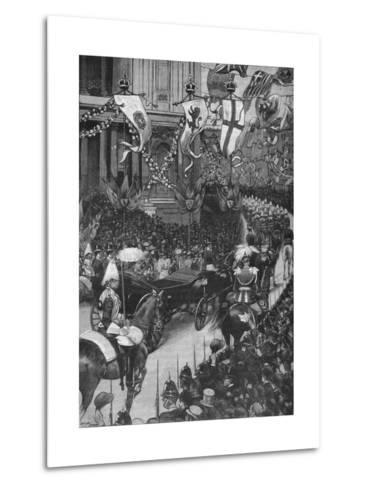 Marriage of the Duke of York: the Royal Procession Passing St Pauls Cathedral, 1893-Arthur Salmon-Metal Print