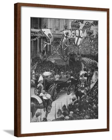 Marriage of the Duke of York: the Royal Procession Passing St Pauls Cathedral, 1893-Arthur Salmon-Framed Art Print