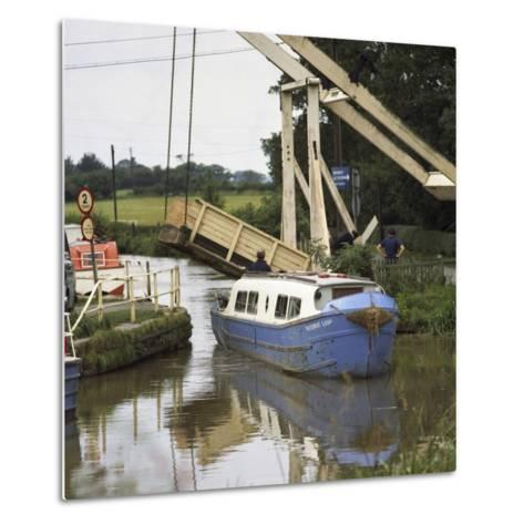 A Canal Boat Passing under a Lift Bridge on the Llangollen Canal, 1970-Michael Walters-Metal Print