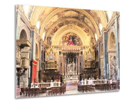 Interior of St Johns Co-Cathedral, Valletta, Malta-Peter Thompson-Metal Print