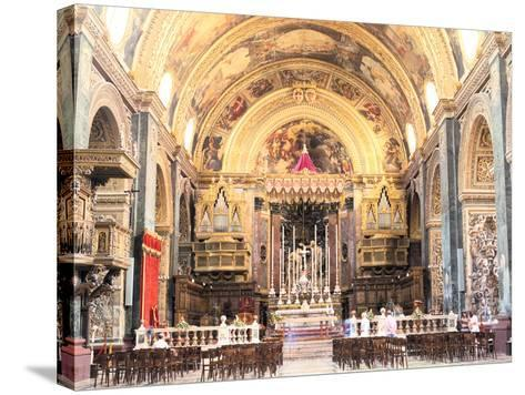 Interior of St Johns Co-Cathedral, Valletta, Malta-Peter Thompson-Stretched Canvas Print