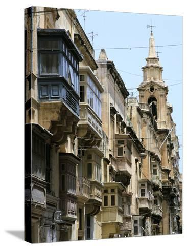 Balconies, St Pauls Street, Valletta, Malta-Peter Thompson-Stretched Canvas Print