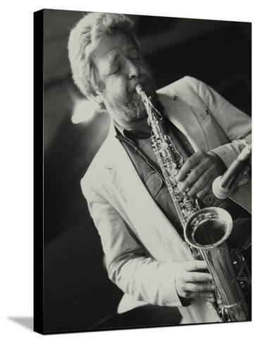 Saxophonist Geoff Simkins Playing at the Fairway, Welwyn Garden City, Hertfordshire, 28 April 1991-Denis Williams-Stretched Canvas Print