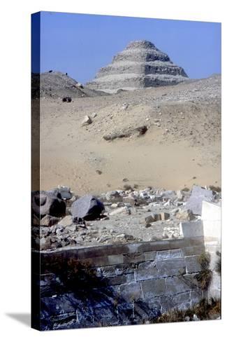 Step Pyramid of King Djoser (Zozer) Behind Ruins of Temple, Saqqara, Egypt, C2600 Bc- Imhotep-Stretched Canvas Print