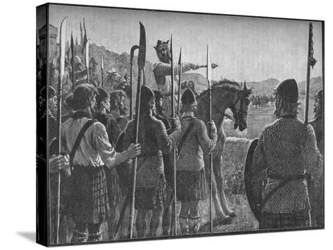 Robert the Bruce Reviewing His Troops before the Battle of Bannockburn, 1314-EBL-Stretched Canvas Print