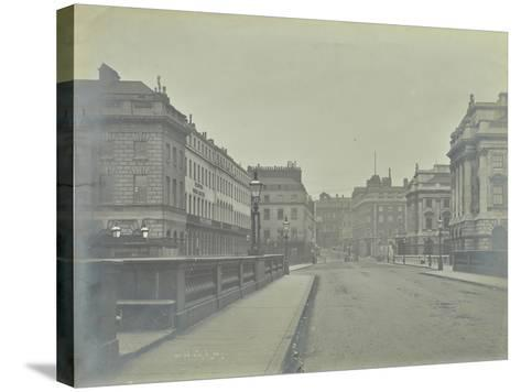 Empty Streets at Lancaster Place, Seen from Waterloo Bridge, London, 1896--Stretched Canvas Print