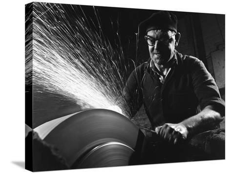 Grinding (Sharpening), Everlast Garden Tools, Sheffield, South Yorkshire, 1965-Michael Walters-Stretched Canvas Print