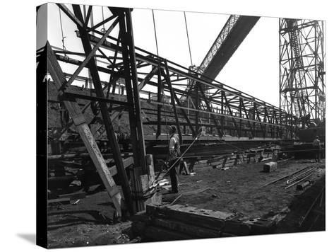 Lifting a Conveyor Bridge, Manvers Coal Preparation Plant, Near Rotherham, South Yorkshire, 1956-Michael Walters-Stretched Canvas Print