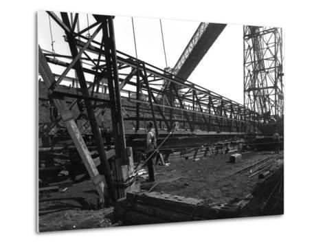 Lifting a Conveyor Bridge, Manvers Coal Preparation Plant, Near Rotherham, South Yorkshire, 1956-Michael Walters-Metal Print
