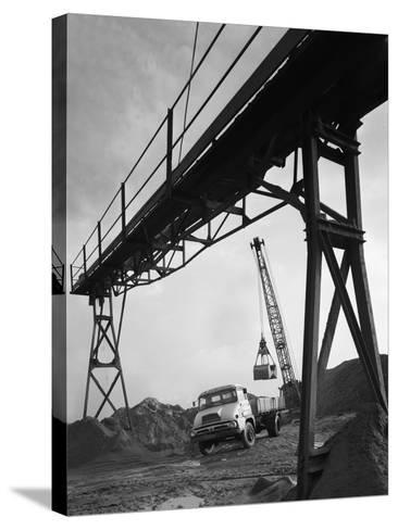 Loading a Ford Thames Trader Tipper Lorry, Finningley, Near Doncaster, South Yorkshire, 1966-Michael Walters-Stretched Canvas Print
