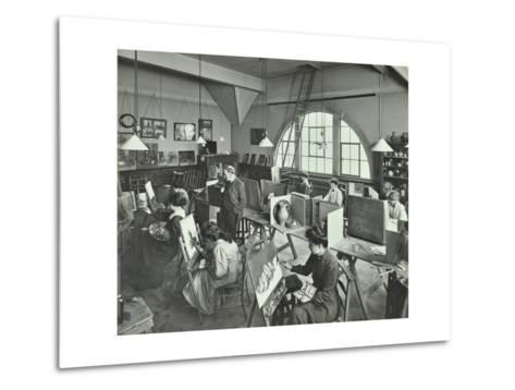 Female Students Painting Still Lifes, Hammersmith School of Arts and Crafts, London, 1910--Metal Print