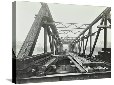 Erection of Emergency Thames Bridge, London, 1942--Stretched Canvas Print