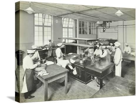 Male Cookery Students at Work in the Kitchen, Westminster Technical Institute, London, 1910--Stretched Canvas Print