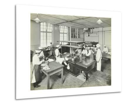 Male Cookery Students at Work in the Kitchen, Westminster Technical Institute, London, 1910--Metal Print
